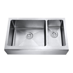 """Ariel - 33 Inch Stainless Steel Smooth Flat Front Farm Apron Kitchen Sink Double Bowl - This roomy double bowl apron sink makes kitchen chores more convenient. An ideal addition to the modern kitchen. Exterior Dimensions 33"""" x 20"""". Left Bowl Interior 20"""" x 16"""", Right Bowl Interior 9"""" x 16"""". Left Bowl Depth 10"""". Right Bowl Depth 9"""". Apron Depth 10""""."""