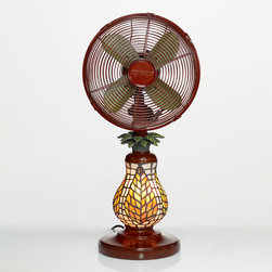 Deco Breeze - Deco Breeze DBF0752 Ferns 10-inch Mosaic Glass Table Fan - Form and function go hand-in-hand with these pineapple-themed Deco Breeze fans. This fan features a faux stained-glass pineapple at its base and is topped with a fully operational three-speed fan complete with a timer and temperature control.