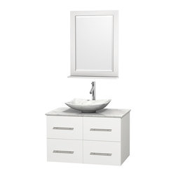 """Wyndham Collection - Centra 36"""" White Single Vanity, White Carrera Marble Top, Carrera Marble Sink - Simplicity and elegance combine in the perfect lines of the Centra vanity by the Wyndham Collection. If cutting-edge contemporary design is your style then the Centra vanity is for you - modern, chic and built to last a lifetime. Available with green glass, pure white man-made stone, ivory marble or white carrera marble counters, with stunning vessel or undermount sink(s) and matching mirror(s). Featuring soft close door hinges, drawer glides, and meticulously finished with brushed chrome hardware. The attention to detail on this beautiful vanity is second to none."""