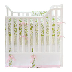 """New Arrivals Inc. - Bloom in Apple Baby Crib Bedding Set - The Bloom in Apple baby bedding by New Arrivals Inc. creates a chic and sophisticated look using damask print and pink and green colors.  Bloom in Apple's bumper is made of Bloomin' in Apple fabric with Cotton Candy Pink Solid cording and pink grosgrain ties. All bumpers are slip covered for easy cleaning.  The sheet is of Bojangle in Apple fabric, and the 17"""" tailored skirt is made from Birdseye Pique fabric with Bloomin' Damask in Apple panels, Cotton Candy Pink Solid band and  Scalloped Pink Ribbon bows."""
