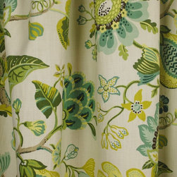 Kauf - St. Thomas Parrot Floral Green Blue Cotton Fabric By The Yard - P/Kaufman fabric St. Thomas in the color way Parrot is a heavy cotton floral Fabric. Vertical repeat is 25.25 inches  and the horizontal repeat is 27 inches. St. Thomas is great for light upholstery, bedding, pillows and window treatments.