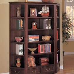 Coaster - Cherry Transitional Bookcase - Louis Phillipe styled bookcase features five storage shelves in a deep rich cherry finish. Add more pices to make a wall unit, or use them separately as corner bookcases. Simple assembly is required.