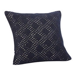 Coyuchi - Diamond Crochet Linen Dec Pillow Indigo - Our pillow gets depth and texture from delicate openwork cotton crochet overlaid on natural linen. Tieback closure. Hand wash recommended. Removable kapok insert included.