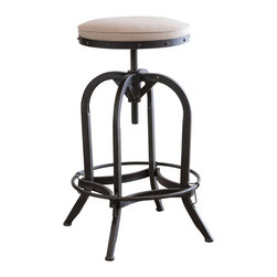 Great Deal Furniture - Dempsey Swivel Iron Bar Stool, Beige Linen - The Dempsey swivel bar stool is a unique piece with all the elements to fit any urban style decor. It's built from iron material and the tubular base ensures sturdy construction. It features antique-stained legs, and the swivel seat is adjustable.
