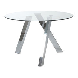 Euro Style - Euro Style Fridrika Table // Clear Glass/ Polished Stainless Steel - Any way you look at this table it s amazing. In fact it s like an illusion. The three stainless steel legs form new patterns as you move about the room. Even with nothing on it, it s a conversation piece.