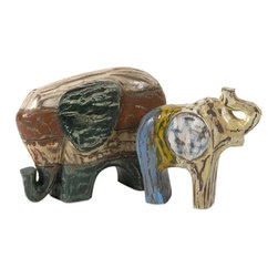 "IMAX CORPORATION - Hasina Wood Carved Elephants - Set of 2 - Hasina Wood Carved Elephants - Set of 2.  Set of 2 sculptures measuring 7.75""H x 2.25""W x 8""L and 8""H x 3""W x 10.5""L each. Find home furnishings, decor, and accessories from Posh Urban Furnishings. Beautiful, stylish furniture and decor that will brighten your home instantly. Shop modern, traditional, vintage, and world designs."