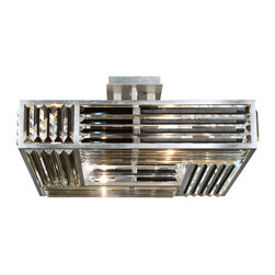 Fine Art Lamps - Crystal Enchantment Semi-Flush Mount, 811640ST - Echoes of art deco ripple through this stunning ceiling fixture. The metal frame is silver-leafed and fitted with panels of multifaceted crystal that twinkle and refract the light, adding an understated touch of glamour to any room.