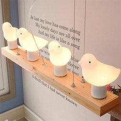 """Cute """"fat"""" bird pendant light - 3 Birds light: 22"""" long, 6.7""""high, 4"""" wide, $198(iron base)"""