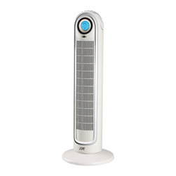 Sunpentown - Remote Controlled Tower Fan with Ionizer - Sleek, stylish and functional. This contemporary tower fan in white and silver is perfect for room corners or small areas with its space saving footprint. Vertical spinning drum oscillates 70 for wide air distribution. Features quiet operation, LCD screen with blue backlight, Ionizer and timer.