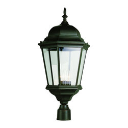 """Trans Globe Lighting - Trans Globe Lighting 51001 BK Trans Globe 26 1/2"""" Post Top Lantern - Chesapeake 3 lantern lamp post mount light offers colonial theme in classic style for outdoor landscape lighting."""