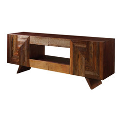 Marco Polo Imports - Parker Media Cabinet - This media console combines the rustic charm of natural wood with contemporary designs, giving new life to salvaged wood.
