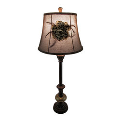 Zeckos - Decorative Antique Bronze Finish Glass Buffet Lamp with Flower Trimmed Shade - This highly decorative lamp will stylishly brighten up your space while adding charm to the room with its curved lines and complementing flower trimmed shade This 32 inch high, 5.5 inch diameter (81 X 14 cm) glass and polystone lamp includes a 9 inch high, 12 inch diameter (23 X 30 cm) fabric covered shade with a feathered fabric flower trimmed shade, and is great for lighting your entry, dining room, bedroom or office sure to entice relaxation with its beautiful faux antique bronze and golden marble finish The 61 inch long brown cord makes it easy to display just about anywhere, and it uses 1 Type A 60 watt maximum bulb (not included) that easily turns on or off via the twist-switch located just under the bulb. This lamp is a wonderful addition whether its a housewarming gift, or the finishing touch to your own home sure to be admired