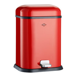 Wesco - Wesco Singleboy Waste Can, Red - Garbage never had it so good! You'll appreciate how one pump of the sturdy stainless steel foot pedal opens the top for hygienic disposal, and the cool, classic design suits any style.