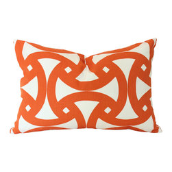 The Pillow Studio - Outdoor Schumacher Santorini Orange Designer Lumbar Pillow Cove - I love the geometric design on this pillow and the tangerine orange color makes me smile every time I see it.