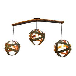 Wine Country Craftsman - ATOM - Trilateral - Wine Barrel Ring Atom Globe Chandelier - ATOM - Trilateral - Wine Barrel Ring Atom Globe Chandelier