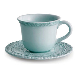 Finezza Blue Cup & Saucer - Small-scale scalloped lace patterns adorn the rim of the Finezza Blue Cup, while a radiant mix of designs intricately textures its matching ceramic Saucer.  This romantic breakfast-cup set, which was handmade in Italy, adds nostalgia to your teatime drinks or after-dinner coffee with its dreamy sky-blue color and delicately tactile appeal.