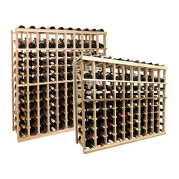 Vintner Series Wine Rack - Individual Bottle Wine Rack - 10 Columns with Display - Each wine bottle stored on this four column individual bottle wine rack is cradled on customized rails that are carefully manufactured with beveled ends and rounded edges to ensure wine labels will not tear when the bottles are removed. Purchase two to stack on top of each other to maximize the height of your wine storage. Moldings and platforms sold separately. Assembly required.