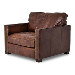 Four Hands - Top Grain Leather Club Chair with Nail Head Trim - Leather club chairs, the staple of historic mens clubs, country clubs, high-end hotel lobbies - and now your home. Invite in the timeless elegance and comfort of good company, a fine wine and stimulating conversation. This club chair has a hardwood frame covered in top grain leather. The seat and back cushions are filled with either foam or down feathers. The fronts of the square armrests are accented by nail head trim for a masculine influence. Leather is distressed to create that perfectly weathered appearance.