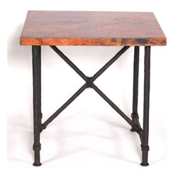 """Mathews & Company - Burlington End Table with 24"""" x 24"""" Square Top - Burlington End Table is a classic wrought iron end table that will work well for any interior. This table comes with a sturdy wrought iron base that has been hand forged to perfection by skilled artisans to ensure a long lasting piece that will grace your home for the years to come. This square end table will work with any available space and create a cozy nook with a lamp and a chair next to it. The solid wooden top is sturdy and visually appealing thanks to the Old World Pine finish, and adds to the classic grace of this table. You can also order this table with a square copper top or a glass top for a trendier look. You can also order this table with Red Marble-scolloped Edges. The base has been fashioned from pipe like legs and has an X-shaped support beneath the top. Classic matte black finish will work for any interior. You can also opt for a different finish option like Aged Rust, Aged Bronze and Aged Pewter to match your interior. You can also order this lovely table as a base only and use it with an existing top. Pictured in Copper top and Black finish."""