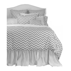 """La Mode Couture - Sierra Silver King Duvet Cover 102"""" x 90"""" - Perfectly spaced ridges inspired by natures marvelous panoramas. An attractive contemporary design with cascading bright snowy mountains."""