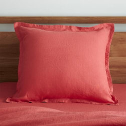Lino Coral Linen Euro Sham - Super soft, washed bedding in solid, gorgeous hues spreads the bed in the comforting touch and relaxed, worn-in style of pure linen. One-inch, self-flange detailing and envelope closure adds casual tailoring. Pillow insert also available.