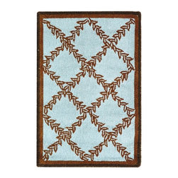 Safavieh - Hand-Hooked Blue and Brown Rug (8 ft. 9 in. x 11 ft. 9 in.) - Size: 8 ft. 9 in. x 11 ft. 9 in. Hand Hooked. Contrasting color and distinct botanical design are this area rug's defining characteristics. Woven with top quality virgin wool pile, this country casual rug is ideal for your decor.