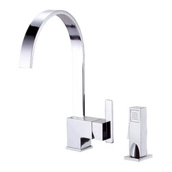 "Danze - Danze D401544 One Handle Kitchen Faucet W/ Spray Chrome - Danze D401544 Chrome Single Handle Kitchen Faucet with Spray is part of the Sirius Kitchen collection.  D401544 2 hole installation Kitchen Faucet with matching brass side spray has a 9"" long and 13 1/2"" high spout.  D401544 Single lever handle meets all requirements of ADA.  California and Vermont compliant."