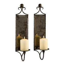 "IMAX CORPORATION - Hammered Mirror Wall Sconce - Set of 2 - Antiqued mirror reflects the dancing light of pillar candles in this set of two wall sconces, eloquently devised with their hammered metal design. Set of 2 in various sizes measuring around 23""L x 8.5""W x 17.5""H each. Shop home furnishings, decor, and accessories from Posh Urban Furnishings. Beautiful, stylish furniture and decor that will brighten your home instantly. Shop modern, traditional, vintage, and world designs."
