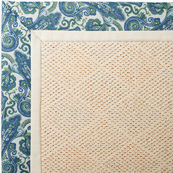 Frontgate - Outdoor Parkdale Rug in Sunbrella Bayard Earth White Wicker - 5' x 8' - Wicker-textured base is woven in soft and durable olefin. Choose from 2 base colors on some borders; Cane Wicker or White Wicker. Cleans with soap and water. Sunbrella® fabric is resistant to fading, staining, and mildew. Rug pad recommended (sold separately). Our Parkdale Rug with colorful borders matches the premium all-weather fabrics featured on our replacement cushions, pillows, draperies, and umbrellas. This all-weather rug will work just as beautifully indoors as it does outside. . . . Sunbrella fabric is resistant to fading, staining, and mildew. . Made in the USA.