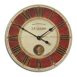"""Uttermost - Uttermost S.B. Chieron 23"""" Traditional Wall Clock X-24060 - Weathered, laminated clock face with cast brass details and internal pendulum. Requires 1-AA Battery."""