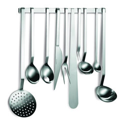 Mono - Gourmet Utensils, 10+1 Complete Set - Your bustling kitchen will get a little livelier — and lovelier — with this streamlined set of stainless steel kitchen utensils. Beautiful enough for display yet organized enough to be practical, this complete set is bound to inspire new gourmet experiments and culinary masterpieces.