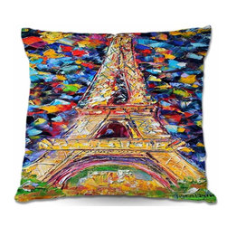 DiaNoche Designs - Pillow Woven Poplin - Eiffel Tower At Night - Toss this decorative pillow on any bed, sofa or chair, and add personality to your chic and stylish decor. Lay your head against your new art and relax! Made of woven Poly-Poplin.  Includes a cushy supportive pillow insert, zipped inside. Dye Sublimation printing adheres the ink to the material for long life and durability. Double Sided Print, Machine Washable, Product may vary slightly from image.