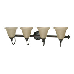 Old Bronze Energy Star 4 Light Bath Vanity Wall With Amber Water Glass - Condition: New - in box