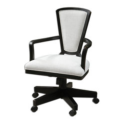 "Uttermost - Exavier Modern Desk Chair - Sandy White, Woven Linen With Stain Resistant Fabric Proctor On A Solid Hardwood Frame With A Rubbed Black Finish On A Swivel Base That Is Height-adjustable With Locking Tilt And Casters. Seat Height Is Adjustable From 19.5"" To 24""."
