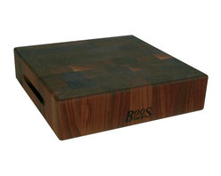"John Boos - John Boos Square Walnut Chopping Block - 3"" Thick End-Grain - A hefty 3-inch-thick walnut end-grain chopping block by John Boos. Reversible with finger grooves for easy handling. 3 inches thick. 3 square sizes. WAL-CCB"