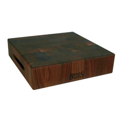 """John Boos - John Boos Square Walnut Chopping Block - 3"""" Thick End-Grain - A hefty 3-inch-thick walnut end-grain chopping block by John Boos. Reversible with finger grooves for easy handling. 3 inches thick. 3 square sizes. WAL-CCB"""