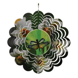 Great World - 12 Inch Flying Dragonfly with Flowers Metal Painted Wind Spinner - This gorgeous 12 Inch Flying Dragonfly with Flowers Metal Painted Wind Spinner has the finest details and highest quality you will find anywhere! 12 Inch Flying Dragonfly with Flowers Metal Painted Wind Spinner is truly remarkable.