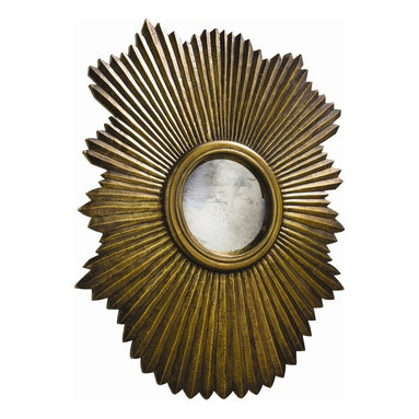 Arteriors - Greer Large Mirror, Antique Brass - This scalloped then fluted wood mirror frame has been clad in metal sheet finished in antique silver. The convex mirror in the center is antiqued. Features saw tooth hangers for vertical or horizontal hanging.