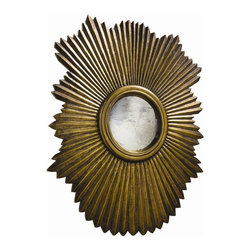 Arteriors - Greer Large Mirror - This scalloped then fluted wood mirror frame has been clad in metal sheet finished in antique silver. The convex mirror in the center is antiqued. Features saw tooth hangers for vertical or horizontal hanging.