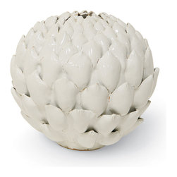 Palecek - White Ceramic Artichoke Vase - White ceramic body with a white glaze and hand-applied details. Water tight.
