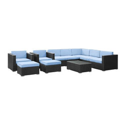 Modway - Avia 10 Piece Sectional Set in Espresso Light Blue - Surround yourself with a modern landing pad of exploration. Positioned to advance your outdoor patio, backyard, or pool area, Avia helps you bestow acceleration to your outward achievements and social celebrations.