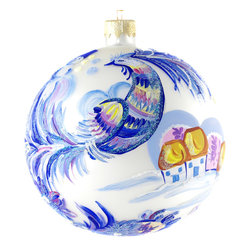 """Christmas Wonderland"" Hand Painted Christmas Ball. Made in Ukraine - ""Christmas Wonderland"" hand painted Christmas ball is 4"" (100 mm) in diameter and made of hand blown glass by skillful young artists in Ukraine. This wonder bird with snowmen and little houses on the background is inspired by the Ukrainian folklore about Christmas joy. Made in Ukraine."