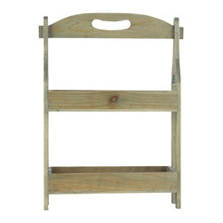 Wooden Shelf w/ 2 Trays and Wood Handle - Natural Wood Finish - *Wooden Shelf with 2 Trays and Wood Handle Natural Wood Finish