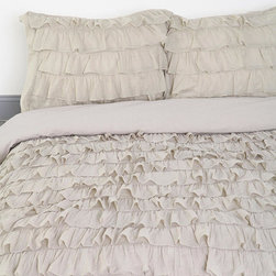 Waterfall Ruffle Duvet Cover, Gray - This is very Anthropologie and romantic. I think I may use it as a jumping-off point to start designing my daughters' tween room.