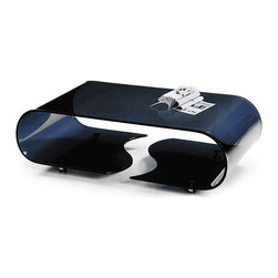 Modern Black Bent Glass Coffee Table on Casters Morgan - Features: