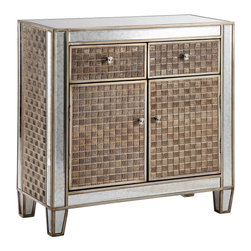 None - Gosla Patterned Panel and Silver Leaf Cabinet - Everything about the Gosla Cabinet is extraordinatry. The look is extraordinary,from it's patterned doors,drawers and sides to it's tapered legs.