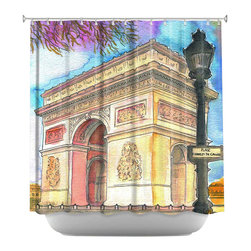 DiaNoche Designs - Shower Curtain Artistic - Arc de Triomphe - DiaNoche Designs works with artists from around the world to bring unique, artistic products to decorate all aspects of your home.  Our designer Shower Curtains will be the talk of every guest to visit your bathroom!  Our Shower Curtains have Sewn reinforced holes for curtain rings, Shower Curtain Rings Not Included.  Dye Sublimation printing adheres the ink to the material for long life and durability. Machine Wash upon arrival for maximum softness. Made in USA.  Shower Curtain Rings Not Included.