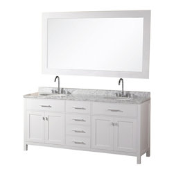 "Design Element - Design Element London 72"" Modern Double Sink Vanity Set - White - The 72"" London Double Vanity is elegantly constructed of solid hardwood. The white Carrara Marble counter tops classic beauty and contemporary styled cabinetry bring a crisp clean look to any bathroom. Seated at the base of the double ceramic sinks are chrome finished pop up drains designed for easy one touch draining. A large matching framed mirror is included. This beautiful vanity has ample storage which includes two large flip-down shelves, four center drawers and two soft closing cabinets accented with satin nickel hardware."
