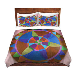 DiaNoche Designs - Duvet Cover Microfiber by Jennifer Baird - Mandala I B - DiaNoche Designs works with artists from around the world to bring unique, artistic products to decorate all aspects of your home.  Super lightweight and extremely soft Premium Microfiber Duvet Cover (only) in sizes Twin, Queen, King.  Shams NOT included.  This duvet is designed to wash upon arrival for maximum softness.   Each duvet starts by looming the fabric and cutting to the size ordered.  The Image is printed and your Duvet Cover is meticulously sewn together with ties in each corner and a hidden zip closure.  All in the USA!!  Poly microfiber top and underside.  Dye Sublimation printing permanently adheres the ink to the material for long life and durability.  Machine Washable cold with light detergent and dry on low.  Product may vary slightly from image.  Shams not included.