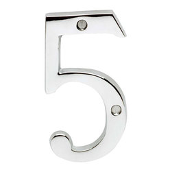 Renovators Supply - House Numbers Chrome House Number # 5 - House numbers: Crafted of chrome over solid brass, these sand cast numbers measure 3-7/8 in. high. Beautiful chrome will withstand the test of time. Includes 2 screws for mounting.